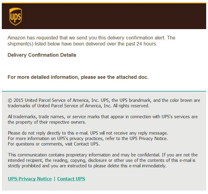 UPS Delivery Confirmation Alert scam email | ScamWatch