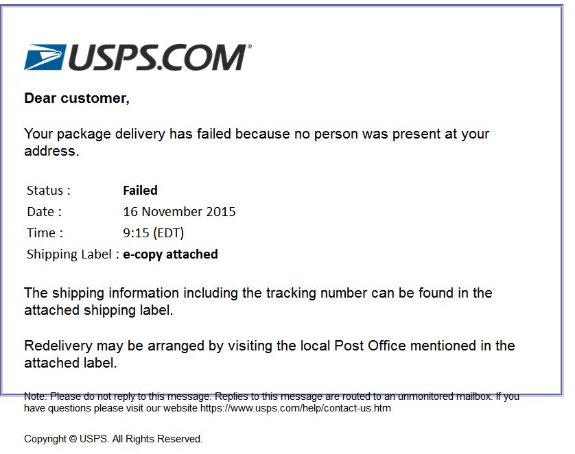 usps 39 your package delivery has failed 39 scam email scamwatch. Black Bedroom Furniture Sets. Home Design Ideas